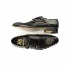 John White RIPON Mens Leather Double Monkstrap Shoes Black
