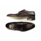 John White RIPON Mens Leather Double Monkstrap Shoes Brown
