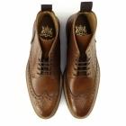 John White BOURTON Mens Leather Brogue Derby Boots Tan