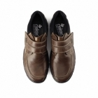 Rieker 19952 Mens Leather Touch Fasten Comfort Shoes Brown