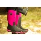 Muck Boots ARCTIC ADVENTURE Ladies Wellington Boots Black/Hot Pink