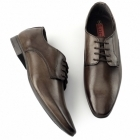 Lucini BORDIN Mens Leather Plain Pointed Shoes Brown