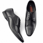 Lucini BORDIN Mens Leather Plain Pointed Shoes Black