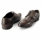 Lucini WILLIAM Mens Leather Pointed Brogues Brown