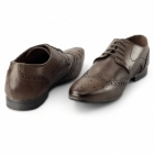 Lucini WILLIAM Mens Leather Pointed Brogues Cognac