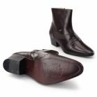 Shuperb ANTONIO Mens Side Zip Cuban Heel Leather Boots Brown