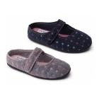 Padders HEIDI Ladies Felt Wide Fit Velcro Slippers Navy