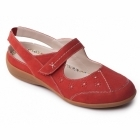 Padders DONNA Ladies Leather Extra Wide Velcro Shoes Red