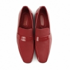 Rossellini MONZESE Mens Patent Faux Leather Loafers Red