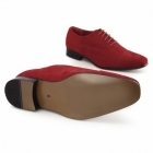 Rossellini MARIO Mens Faux Suede Oxford Shoes Red