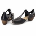 Rieker 43730-00 Ladies Leather T-Bar Shoes Black