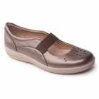 Padders FLARE Ladies Leather Wide Mary Jane Shoes Pewter