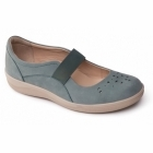 Padders FLARE Ladies Leather Wide Mary Jane Shoes Duck Egg