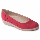 Padders FAYE Ladies Extra Wide Leather Pumps Raspberry
