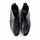 John White BOURTON Mens Leather Brogue Derby Boots Black