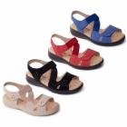 Padders LOUISE Ladies Extra Wide Plus Velcro Sandals Beige