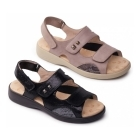 Padders GEM Ladies Velcro EEE Wide Fit Sandals Taupe