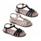 Padders PEARL Ladies Buckle Wide Fit Sandals Navy