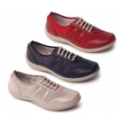 Padders JULIE Ladies Leather EEEE Wide Trainer Shoes Navy