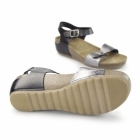 Hush Puppies TEASE SOOTHE Ladies Flat Sandals Black/Silver