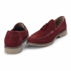 Front BARNES Mens Suede Tassle Loafers Red