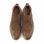Front REGGIE Mens Suede Leather Brogue Chukka Boots Tan