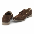 Front BARNES Mens Suede Tassle Loafers Brown