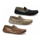 Base London MORGAN Mens Suede Moccasin Shoes Black