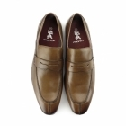 Front OBAN Mens Leather Smart Loafer Style Shoes Tan