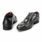 Front EZEL Mens Leather Oxford Brogues Rubbed Grey