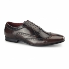 Front EZEL Mens Leather Oxford Brogues Rubbed Brown