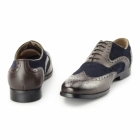 Azor MILLER Mens Leather Oxford Brogues Brown/Blue