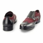 Azor MILLER Mens Leather Oxford Brogues Black/Burgundy