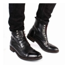 Base London CLAPHAM Mens Waxy Leather Derby Boots Black