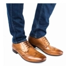 Base London ORWELL Mens Burnished Leather Derby Shoes Tan