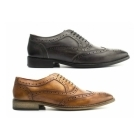 Base London SURREY Mens Washed Leather Oxford Brogues Grey