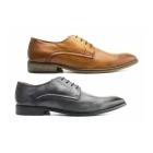 Base London SUSSEX Mens Washed Leather Derby Shoes Grey