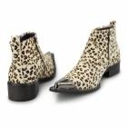 Gucinari RIMINI Mens Leather Winklepicker Boots Leopard Print