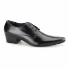Gucinari VITOR Mens Cuban Heel Pointed Leather Shoes Black