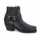 Grinders HARNESS LO Unisex Leather Harness Chelsea Boots Black