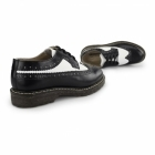 Grinders BERTRUM Unisex Polished Leather Brogues Black/White