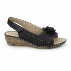 Dr Keller JENNY Ladies Slingback Wedge Sandals Black