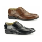Steptronic BUGATTI Mens Waxed Leather Oxford Brogues Cognac