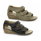 Dr Keller DAWN Ladies Triple Touch Fasten Wedge Shoes Black