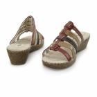 Natrelle CLARICE Ladies Wedge Mule Sandals Red Multi