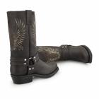 Grinders BALD EAGLE Unisex Leather Harness Biker Boots Brown