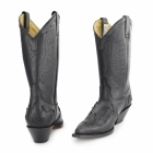 Grinders ARIZONA HI Unisex Leather Cuban Heel Cowboy Boots Black