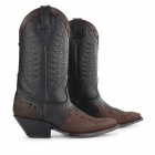 Grinders ARIZONA HI Unisex Leather Cuban Heel Cowboy Boots Black/Burgundy