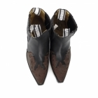 Grinders ARIZONA LO Unisex Leather Cuban Heel Chelsea Boots Black/Burgundy