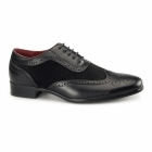 Rossellini FABRIO Mens Faux Suede Brogue Shoes Black